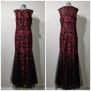 NWT Alex Evenings Black and Red Evening Gown Sz 14